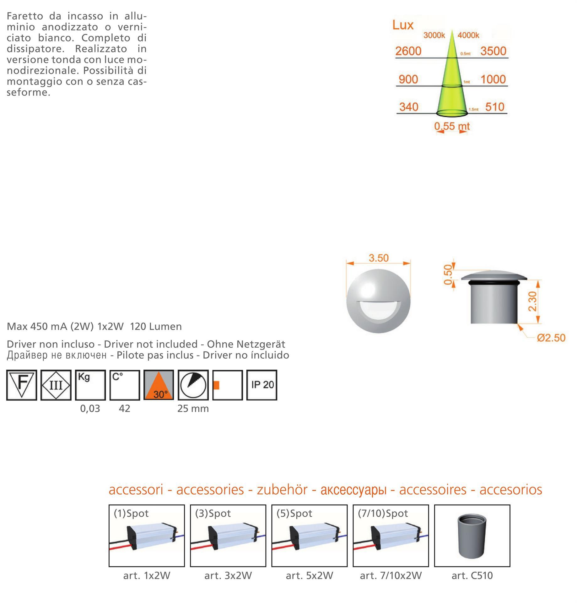 Spot A Led Da Interno.Sikrea Led Sp510 A27 Recessed Footpath Led Aluminium 2w