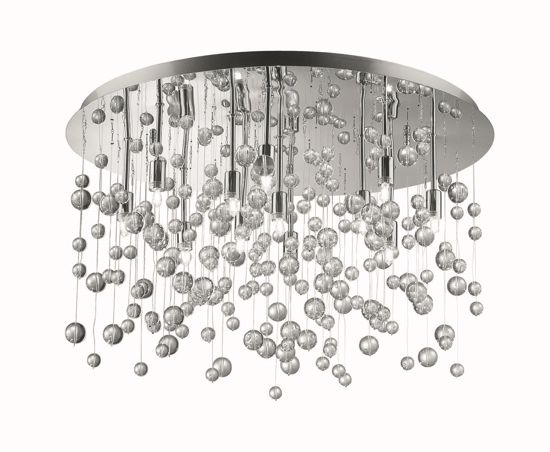 Picture of IDEAL LUX NEVE PL12 CHROME CEILING LAMP WITH GLASS SPHERES 12 LIGHTS