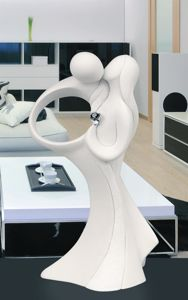 Picture of TABLE SCULPTURE KISSING LOVERS MARMORINO WHITE ROSE SILVER