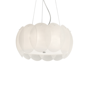 Picture of IDEAL LUX OVALINO SP5 MODERN DESIGN PENDANT LIGHT WHITE GLASS