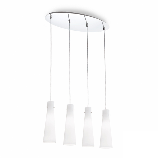 Picture of WHITE KITCHEN ISLAND PENDANT LIGHT 4 GLASS CONES IDEAL LUX KUKY SP4