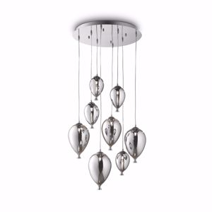 Picture of IDEAL LUX CLOWN SP8 CROMO LAMPADARIO PALLONCINI VETRO EFFETTO SPECCHIO DESIGN MODERNO