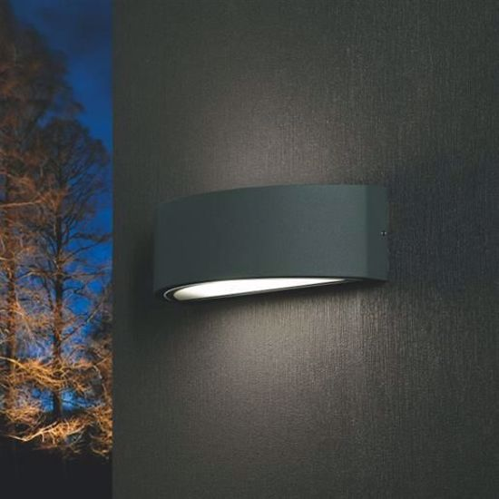 Picture of PROMOINGROSS LENTE WALL LIGHT MODERN  GREY ANTHRACITE CURVED LAMP FOR OUTDOOR LIGHTING