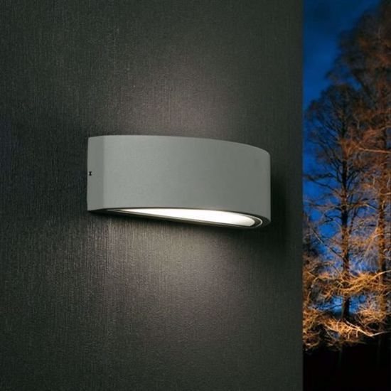 Picture of LENTE PROMOINGROSS MODERN WALL LIGHT GREY CURVED LAMP FOR OUTDOOR
