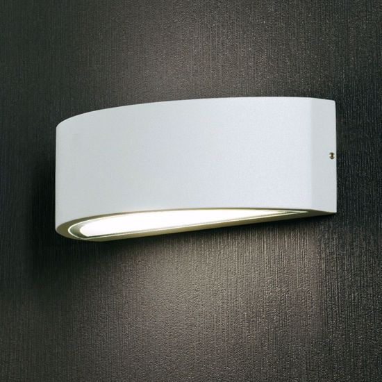 Picture of MODERN WALL LIGHT WHITE CURVED LAMP FOR OUTDOOR AND TERRACES