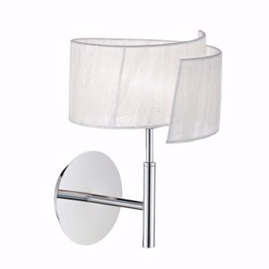 Picture of IDEALLUX NASTRINO AP1 WALL LAMP WHITE ORGANZA AND CHROMED METAL