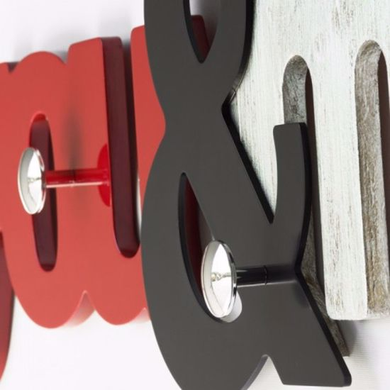 Picture of PINTDECOR YOU & ME WALL COAT HANGER MODERN DESIGN ORIGINAL SHAPE RUBY CHOCOLATE AND WHITE COLOURED