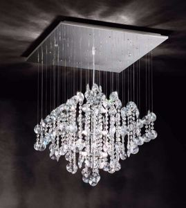 Picture of AFFRALUX SQUARED PENDANT LIGHT CRYSTALS WATERFALL AND CHROME METAL