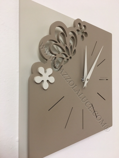 Picture of CALLEA DESIGN MERLETTO SMALL WALL CLOCK 30CM CAFFELATTE COLOUR
