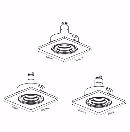 Picture of DIMMABLE RECESSED SPOTLIGHT SQUARED METAL DESIGN WHITE PAINTED