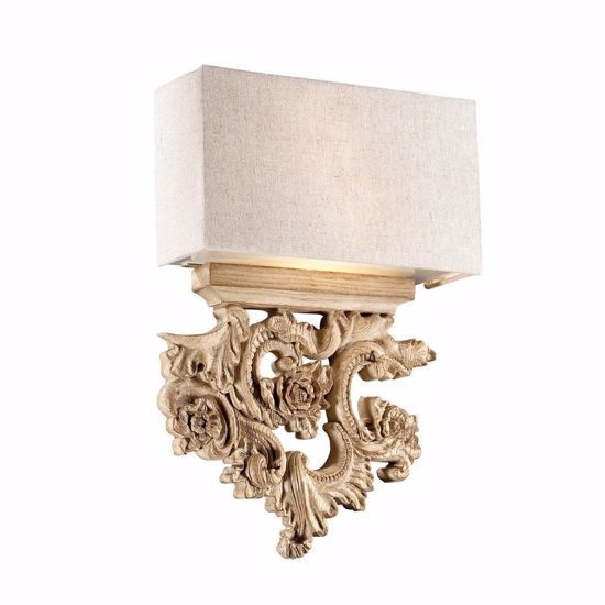 Picture of IDEAL LUX PETER AP2 WALL LAMP WOOD-LIKE WITH SHADE