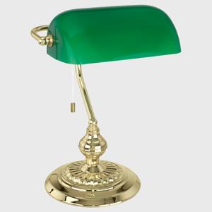 Picture of ABAT-JOUR LAMPADA DA SCRIVANIA METALLO BRUNITO OTTONE E VERDE PER UFFICIO CLASSICO