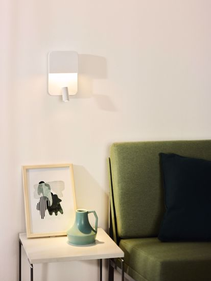 Picture of MODERN WHITE BEDSIDE TABLE LAMP FOR BEDROOM  WITH USB CHARGER