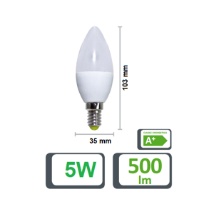 Picture of LIFE ELECTRONICS LED BULB CANDLE E14 5.5W 3000K