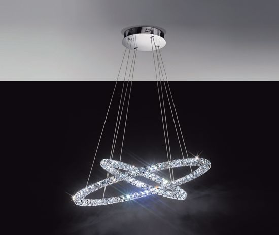 Picture of EGLO TONERIA SUSPENSION LED CRYSTAL RINGS 64W 4000K 90CM
