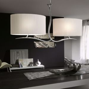 Picture of MANTRA EVE CHROME - OFF WHITE SUSPENSION LIGHT CHROMED BODY 2 WHITE LAMPSHADES