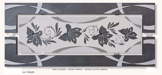 Picture of ARTITALIA FLOWERS IN LOVE I FLORAL ARTWORK 150X65 SILVER GLITTER
