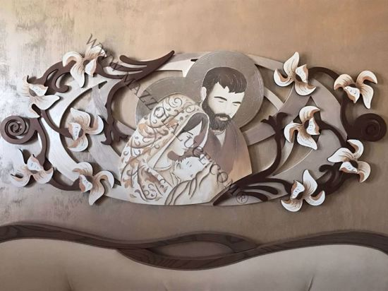 Picture of ART ABOVE BED HOLY FAMILY 155x65 IN 3D DOVE GREY RELIEF WITH SILVER LEAF