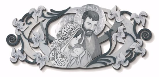 Picture of ART ABOVE BED HOLY FAMILY 155X65 IN 3D RELIEF WITH SILVER LEAF DECORATIONS