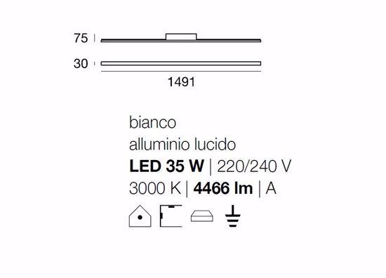 Picture of LINEA LIGHT MA&DE XILEMA ALUMINIUM WALL LAMP LED THIN 149CM