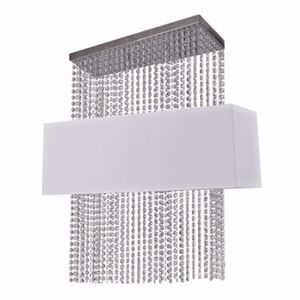 Picture of IDEAL LUX PHOENIX SP5 CONTEMPORARY ELEGANT SUSPENSION WHITE FABRIC AND CRYSTALS