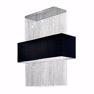 Picture of IDEAL LUX PHOENIX SP5 CONTEMPORARY ELEGANT SUSPENSION BLACK FABRIC AND CRYSTALS