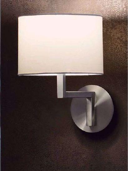 Picture of FARO CRETA WALL LAMP NICKEL WITH ROUND WHITE LAMPSHADE