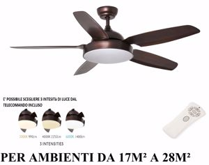 Picture of VENTILATORE A PALE DA SOFFITTO MARRONE CON LUCE LED DIMMERABILE TELECOMANDO