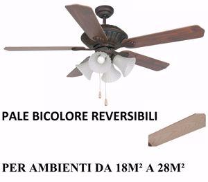 Picture of VENTILATORE DA SOFFITTO RUSTICO CON LUCE E VETRI ACCENSIONE A CATENA