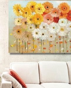 Picture of MANIE WALL ARTWORK COLORED GERBERA DAISIES 100X50CM PRINT ON CANVAS