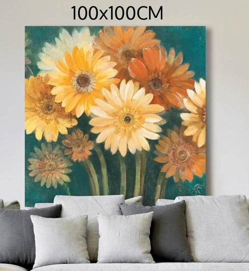 Picture of MANIE WALL ARTWORK MULTICOLOR FLOWERS 100X100 PRINT ON CANVAS