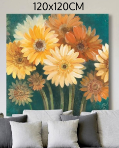 Picture of MANIE WALL ARTWORK MULTICOLOR FLOWERS 120X120 PRINT ON CANVAS