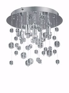 Picture of IDEAL LUX PL5 CHROME CEILING LAMP WITH GLASS SPHERE 5 LIGHTS