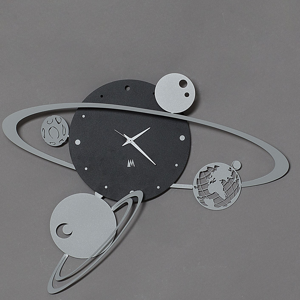 Picture of ARTI E MESTIERI  WALL CLOCK SOLAR SYSTEM BLACK AND GREY 50CM