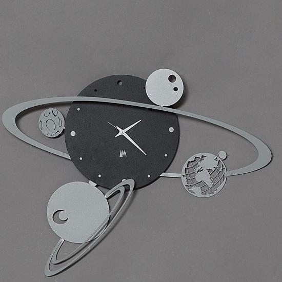 Picture of ARTI E MESTIERI  WALL CLOCK SOLAR SYSTEM BLACK AND GREY 50CM