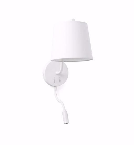 Picture of FARO BERNI WHITE READING WALL LAMP WITH SWITCH