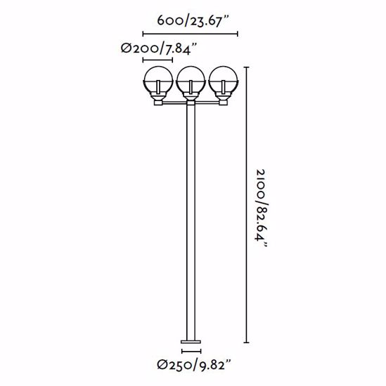 Picture of BIG 3-LIGHT POLE LAMP MODERN DESIGN INJECTED ALUMINIUM