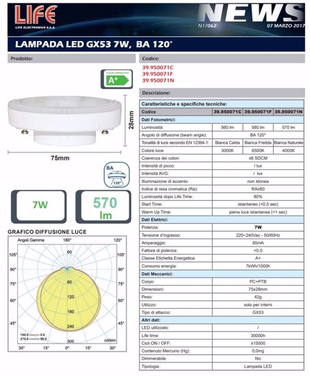 Picture of LIFE FLAT BULB GX53 7W 6500K COLD LIGHT