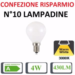 Picture of CONFEZIONE RISPARMIO N10 LAMPADINE E14 LED 4W 3000K 430LM SFERA BIANCA