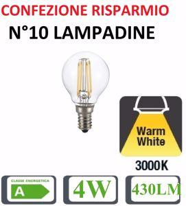 Picture of CONFEZIONE RISPARMIO N10 LAMPADINE E14 LED 4W 3000K 430LM SFERA TRASPARENTE