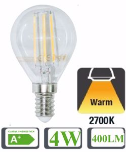 Picture of LED GLOBE BULB E14 4W FILAMENT 2700K TRANSPARENT