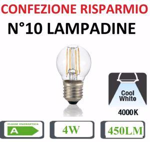 Picture of CONFEZIONE RISPARMIO N10 LAMPADINE LED E27 4W 4000K 450LM BULBO PICCOLO SFERA TRASPARENTE