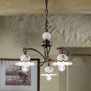 Picture of FERROLUCE ROMA RUSTIC PENDANT LIGHT 3 LAMPS HAND-DECORATED CERAMIC AND WROUGHT IRON