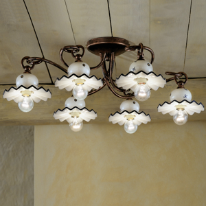 Picture of BIG RUSTIC CEILING LIGHT 6 LAMPS FERROLUCE ROMA HAND DECORATE CERAMIC AND WROUGHT IRON