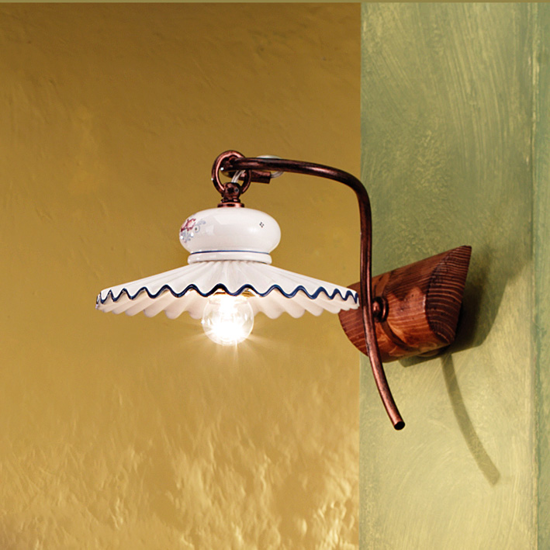 Picture of FERROLUCE ROMA RUSTIC WALL LIGHT WALNUT WOOD GLOSSY CERAMIC AND AGED METAL STRUCTURE