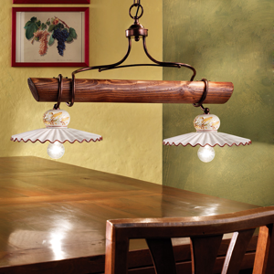 Picture of FERROLUCE ROMA RUSTIC PENDANT LIGHT 2 LAMPS AGED METAL AROUND WALNUT WOOD AND HANDDECORATED CERAMIC