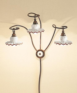 Picture of FERROLUCE ROMA BIG RUSTIC WALL LIGHT 3 LIGHTS HAND DECORATED GLOSSY CERAMIC AND AGED METAL STRUCTURE