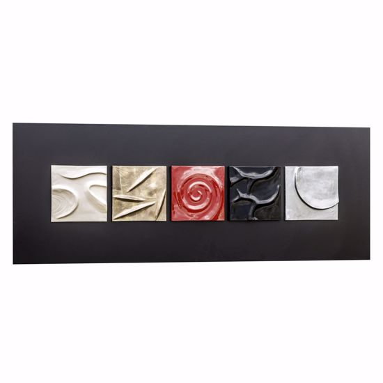 Picture of PINTDECOR MOMA WALL ART CONTEMPORARY DESIGN BLACK CANVAS WITH 5 HAND-DECORATED CERAMICS ELEMENTS WITH SILVER FOIL AND COPPER DETAILS