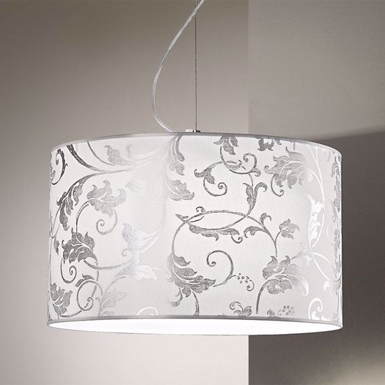 Picture of ANTEA LUCE FASHION PENDANT Ø40CM IN WHITE AND SILVER ARABESQUE FABRIC