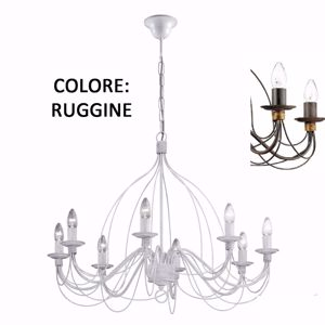 Picture of IDEAL LUX CORTE SP8 HANDCRAFTED PENDANT LAMP RUST